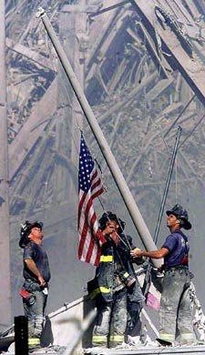 Firemen Raising Flag at Ground Zero