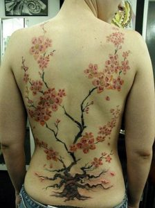 Japanese back tattoo cherry tree