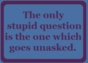 The only stupid question is the one which goes unasked.