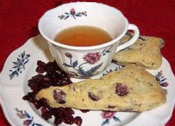 cranberry orange scone tea