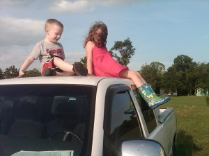 Children on the truck