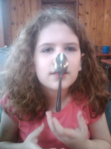spoon on nose